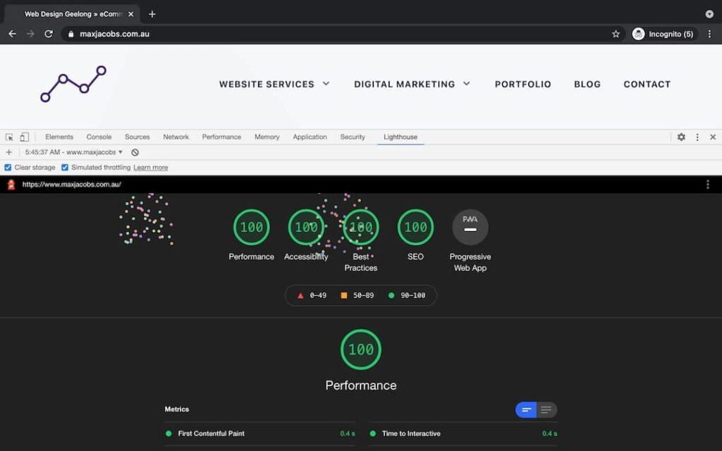Lighthouse Speed Test - Chrome Dev Tools