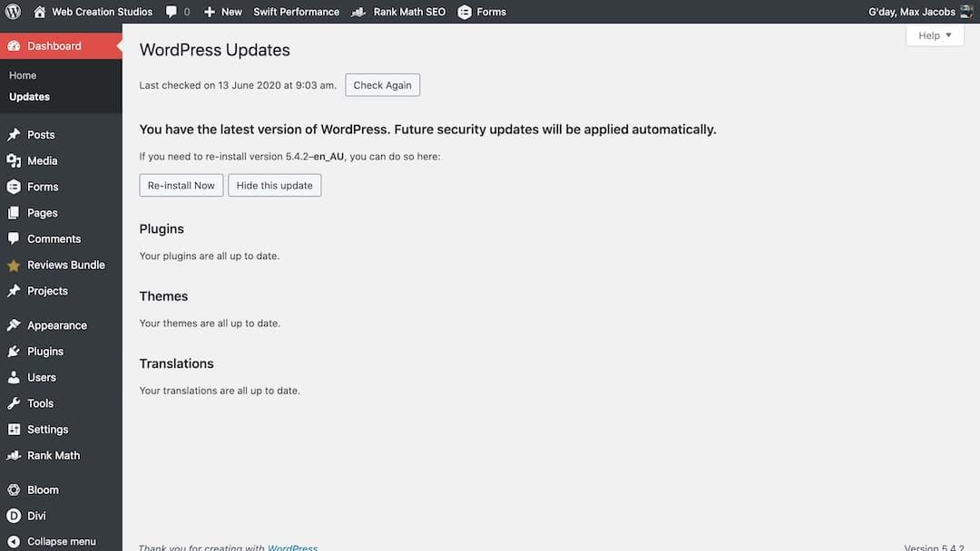 WordPress Software Updates