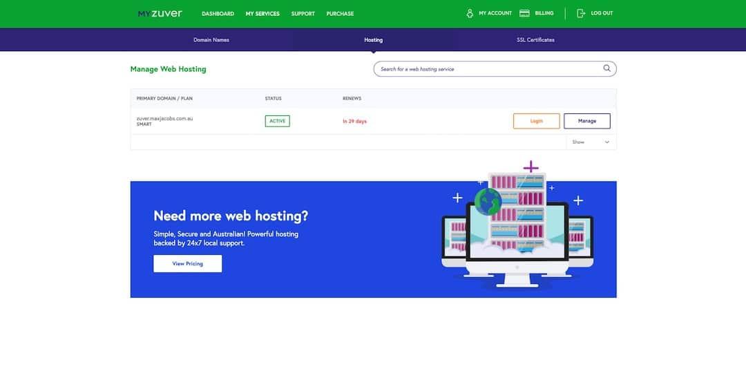 myzuver - dashboard - hosting