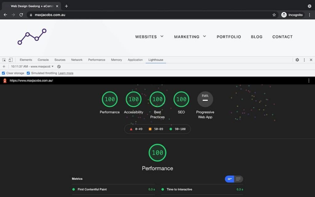maxjacobs.com.au Lighthouse test results