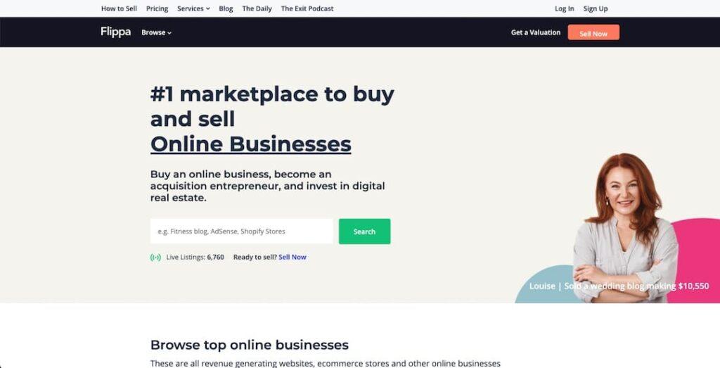 Buy an online business through Flippa