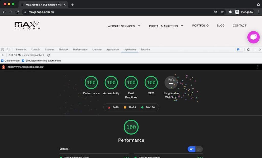 Lighthouse test using Chrome Dev Tools