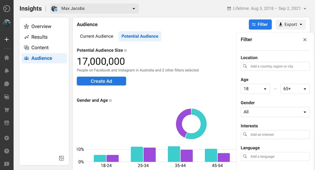 Click blue filter button in Facebook Audience Insights