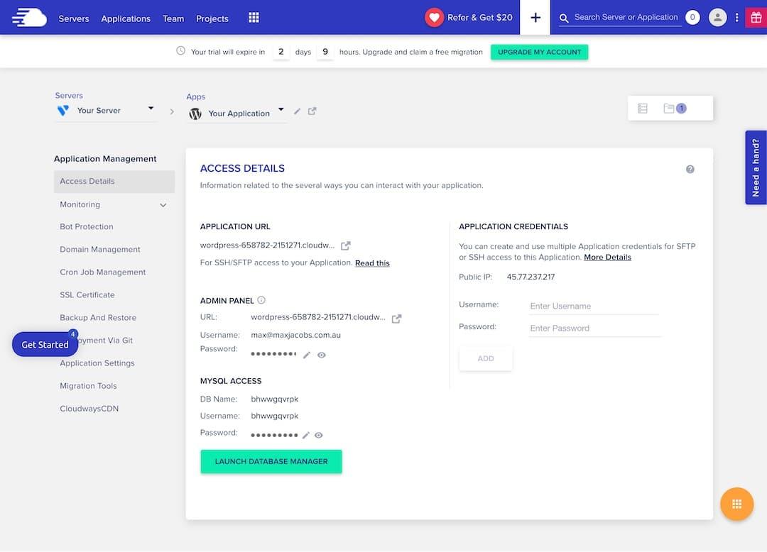 Default Cloudways WordPress Installation