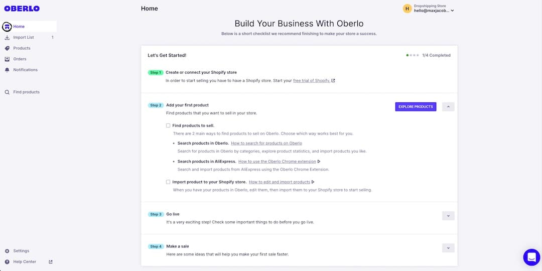 Follow the prompts within the Oberlo Dashboard