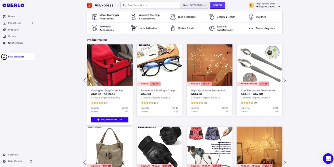 Import dropshipping products from Oberlo into Shopify
