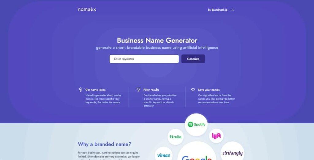 Namelix business name generator tool